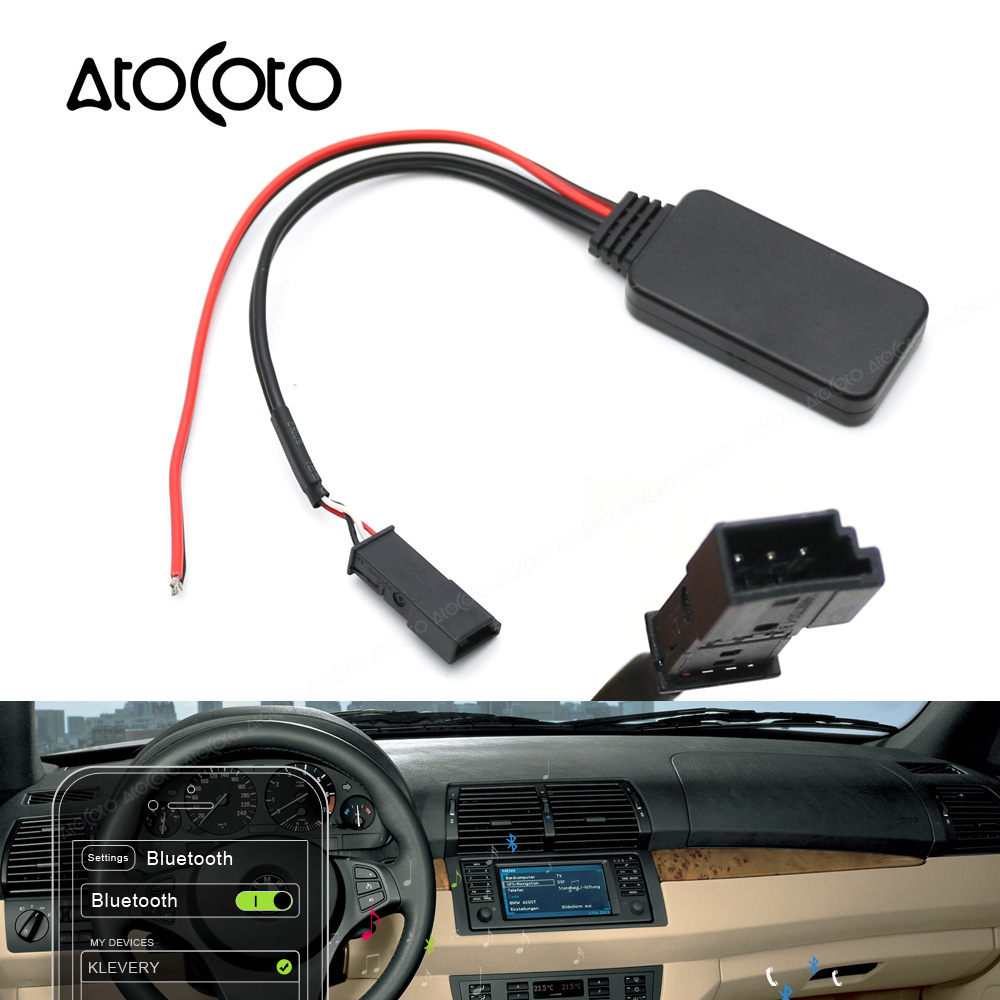 US $20 05 41% OFF|AtoCoto Car Bluetooth Module AUX Receiver Adapter 3 Pin  Cable for BMW BM54 E53 E39 E46 X5 CD Radio Wireless Audio Input-in Cables,