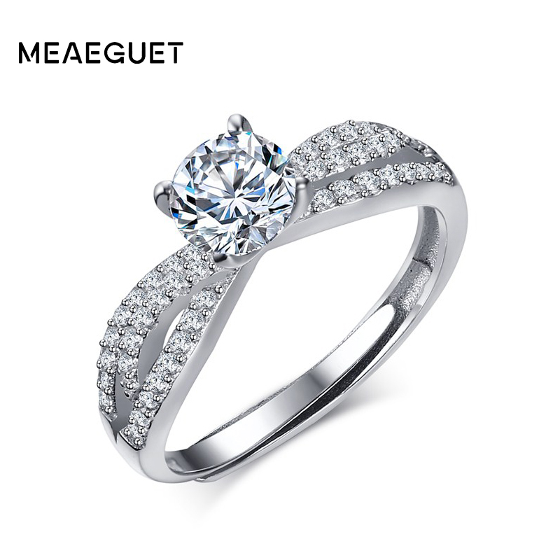 Meaeguet Sterling Silver 925 Rings for Women Fashion Wedding Jewelry AAA+ Cubic Zirconia Crystal Adjustable Engagement Bands