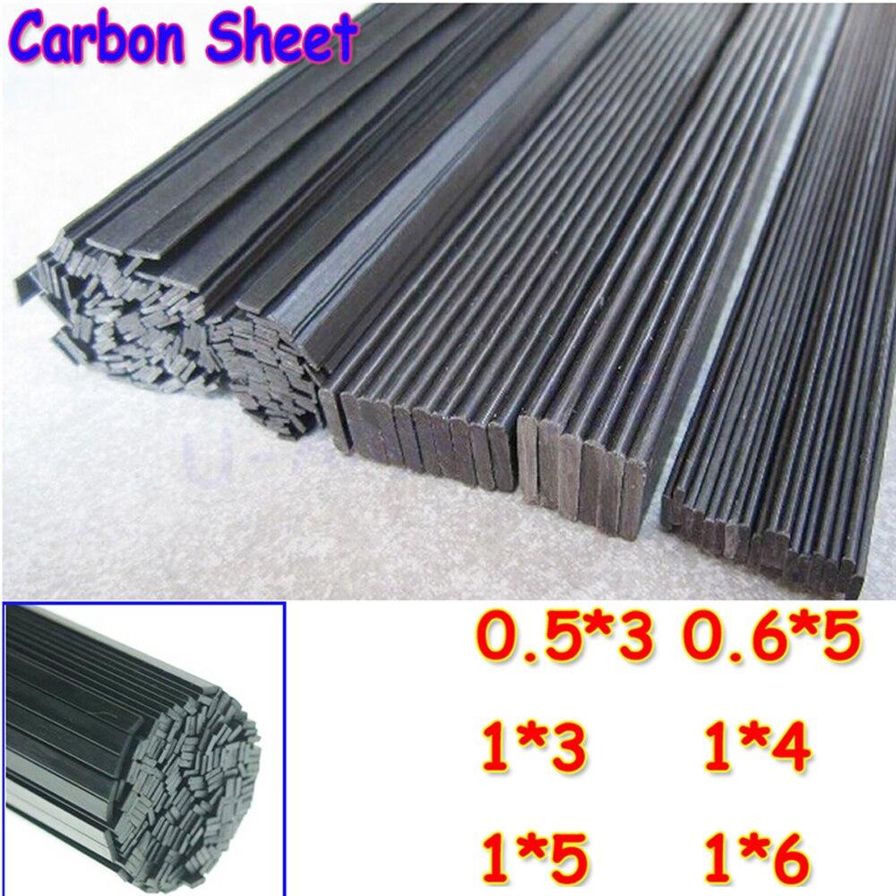 16pcs/lot Carbon Fiber Material 0.5mm*3mm 0.6*5 1*3 1*4 1*5 1*6 Carbon fiber sheet for RC Quadcopter Multicopter ( length 0.5m)