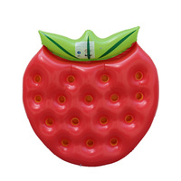 Inflatable red Strawberry Fruits floating row Pool Swimming Ring swim circle Air Mattress water toys for child adult beach party