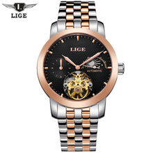 Automatic mechanical LIGE Brand Men's Moon Phase Fashion Casual Dive Business Watch men Full steel Gold clock relogio masculino