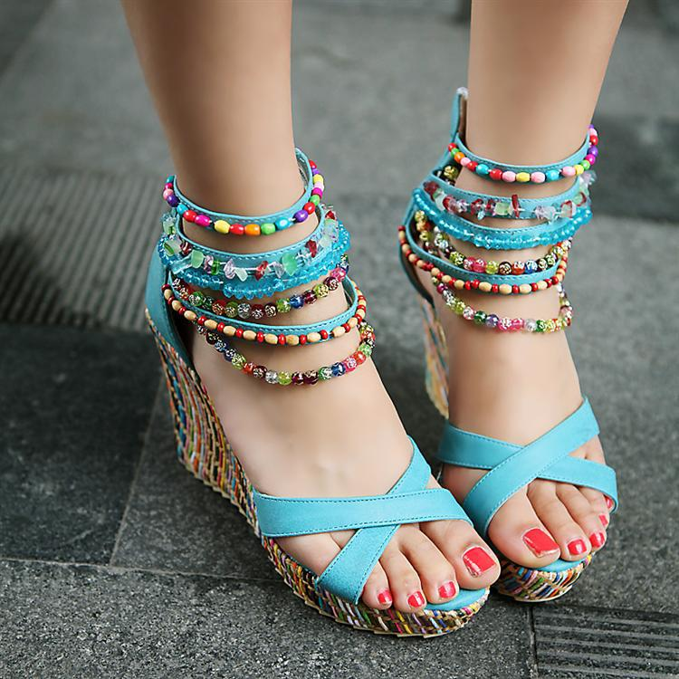 cdb977c741 New Color Beaded Bohemian Folk Style High Heel Wedge Sandals Platform Shoes  With Platform Women Shoe Ethnic Mixed Colors Beads