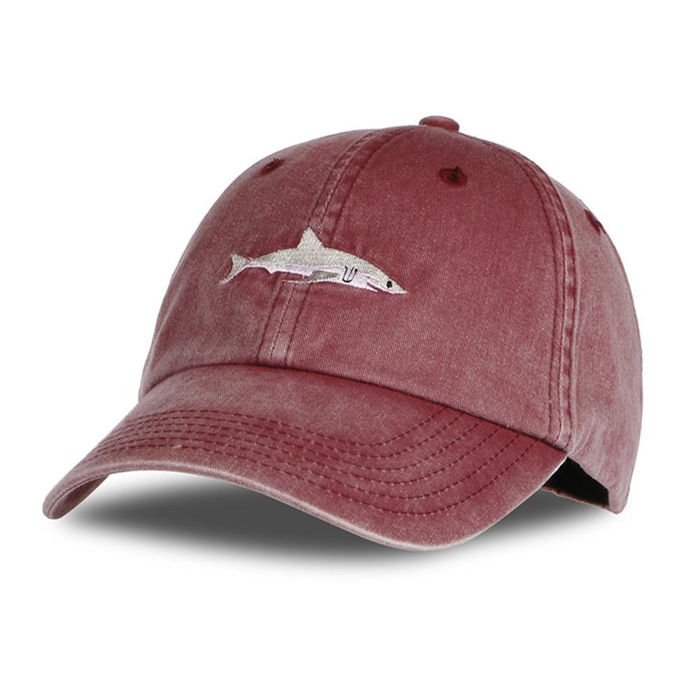 MISSKY Women Men Solid Color Fashion Cartoon Shark Embroidery Sports Hat Adjustable   Baseball     Cap   Summer Sun Protection Unisex