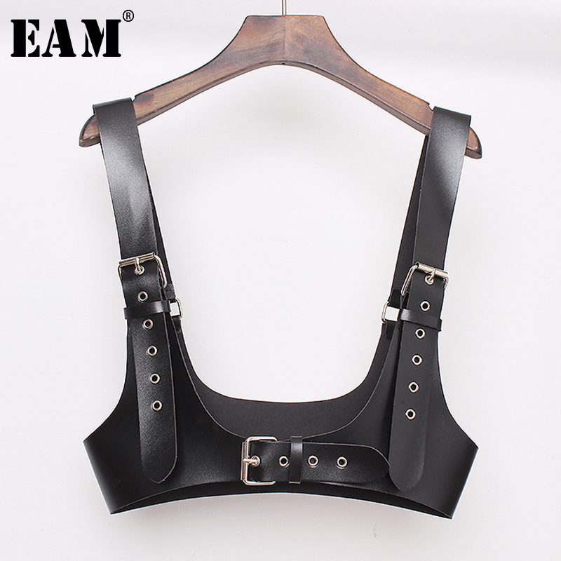 [EAM] 2019 New Spring Summer Pu Leather Black Buckle Personality Women Wide Strap Belt Fashion Tide All-match JX461