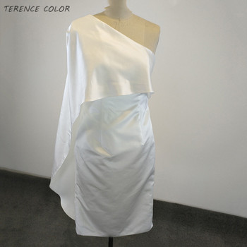 Ivory Color Short Bridesmaid Dresses Elegant One Shoulder Women Wedding Dress Cheap Bridal Gowns Vestidos de Festa Free Shipping