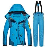 Супер теплый лыжный костюм Для женщин Лыжный спорт куртка и штаны зимние сноуборд куртка Открытый Водонепроницаемый Зимняя одежда высоког