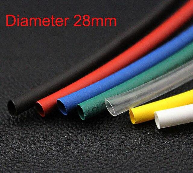1m long 28mm dia ratio 21 heat shrinking shrinkable tube tubing blackred