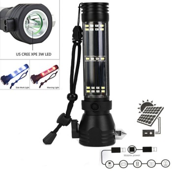 9in 1 Solar Power LED Flashlight Multi-Functional Survival kit Safety Hammer Torch Light With Power Bank SOS EDC Emergency Light 1