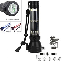 9in 1 Solar Power LED Flashlight Multi-Functional Survival kit Safety Hammer Torch Light With Power Bank SOS EDC Emergency Light alonefire ht801 multi functional cree led flashlight diving flashlight power bank torch with safety hammer for camping hiking