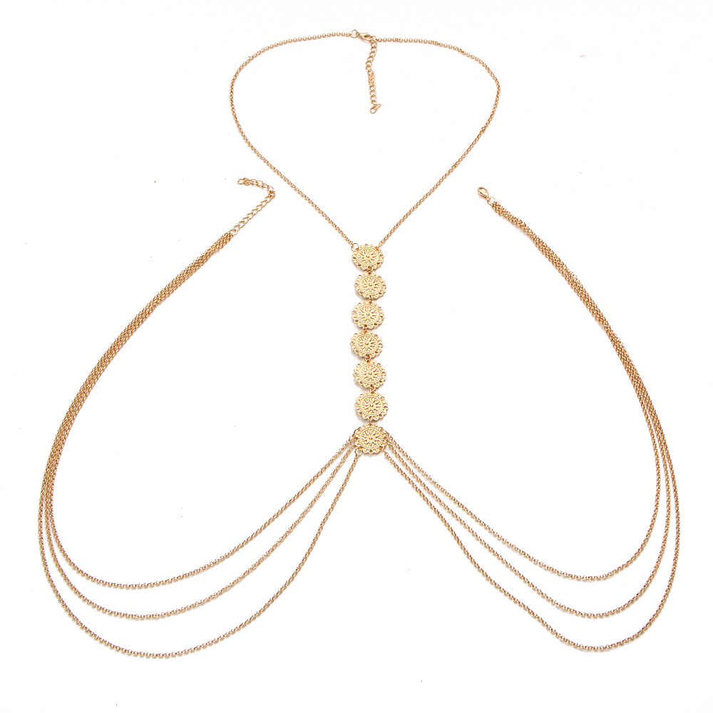 Tassel Body Chain Long Belly Chains Women Gold Silver Color Carving Flower Cross Sexy Bikini Beach Necklaces Belt Body Jewelry