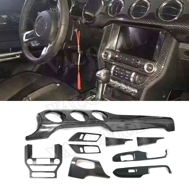 Real Carbon Fiber Interior Trims Dashboard Meter Bar Cover Mouldings For Ford Mustang 2015 2016 2017 Car Styling