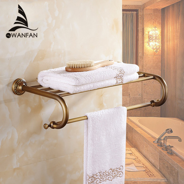 Retro Style Wall Mounted Antique Brass Surface Towel Bars Bathroom Towel  Hanger Bathroom Accessories Towel Rack