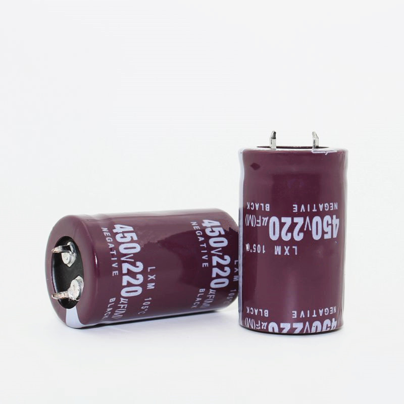 2pcs/lot <font><b>450V</b></font> <font><b>220UF</b></font> Radial DIP Aluminum Electrolytic Capacitors size 25*40 <font><b>220UF</b></font> <font><b>450V</b></font> Tolerance 20% image