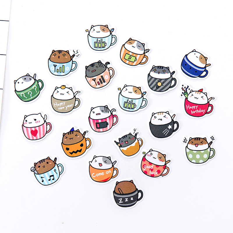 Cute Cat Paper Sticker Kawaii Food Plant Decoration DIY Diary Scrapbooking Label Stickers Stationery School Supplies