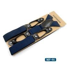 Men's Leather Suspenders, Trousers Braces Y-Back Adjustable Suspenders with Button Holes, Wedding Groomsmen suspenders