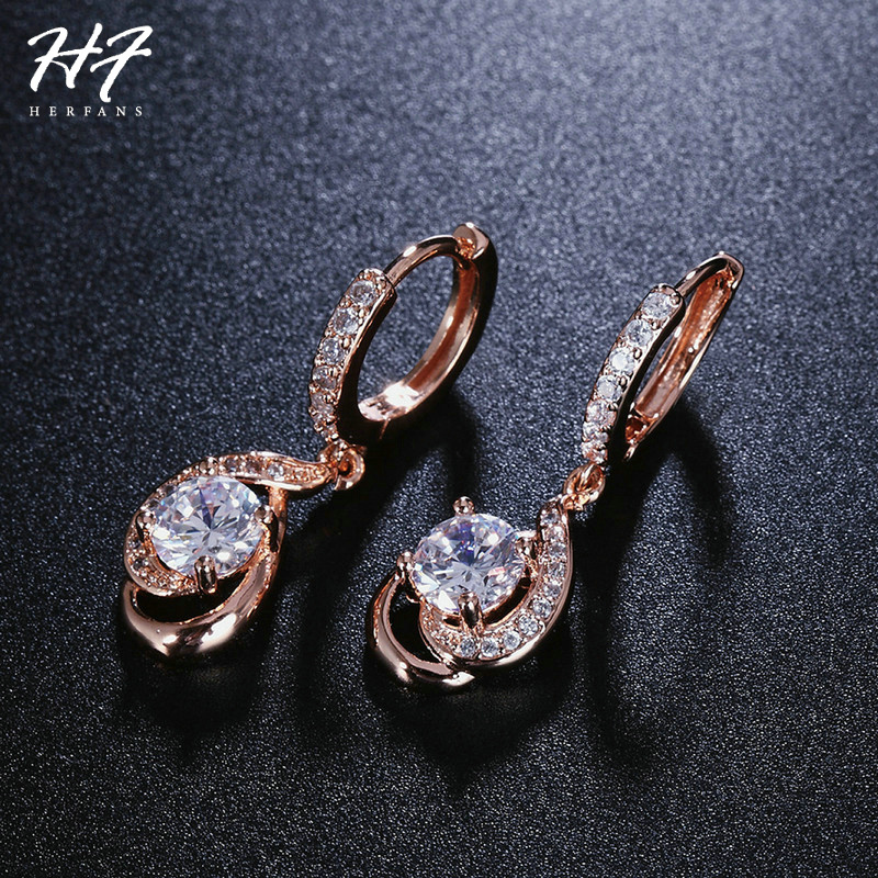 Новая Классика спираль розовое золото Цвет CZ кубический цирконий мотаться падение серьги Мода Обручение украшения для Для женщин подарок E685