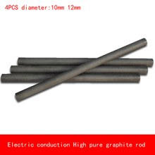 4pcs diameter 10mm 12mm length 50-300mm heat resistant Electric conduction high Pure Graphite rod Electrode Carbon rod