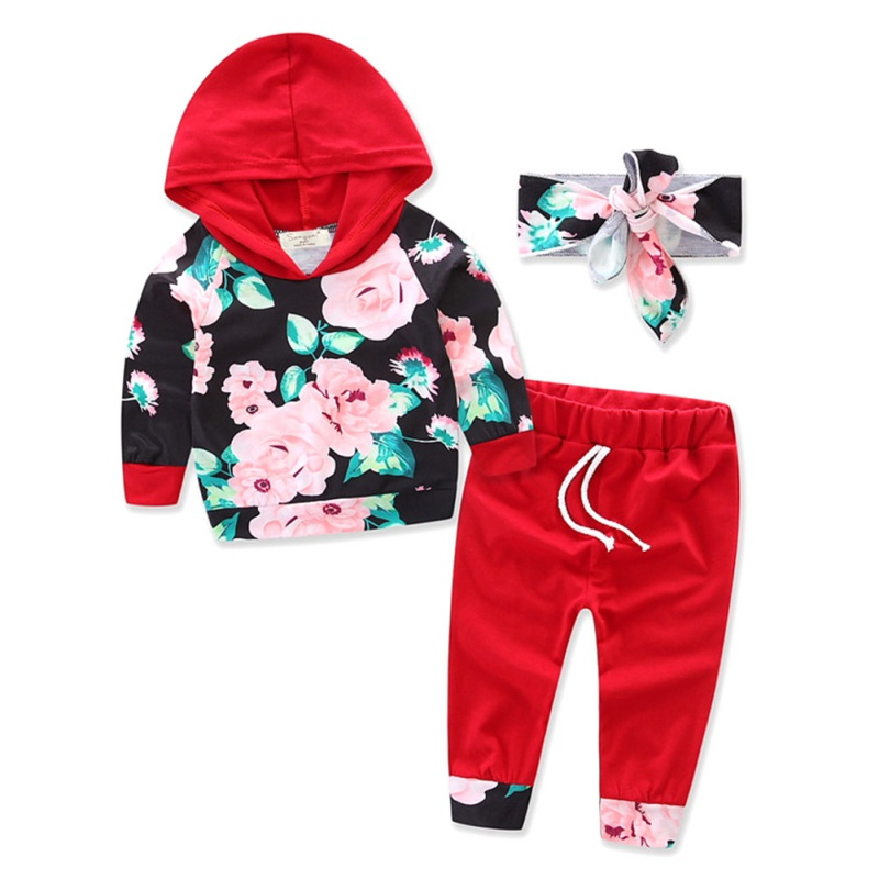 Baby Girls Clothes Newborn Infant Hooded Sweatshirt Tops+Pants Outfits +Headband 3Pcs Set Autumn Winter