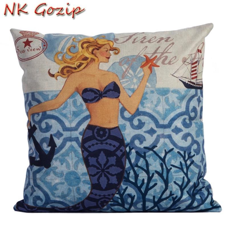 NK Gozip Throw Pillow Case Cotton Cushion Covers Sea Maid Cushion Cover For  Sofa Home ...