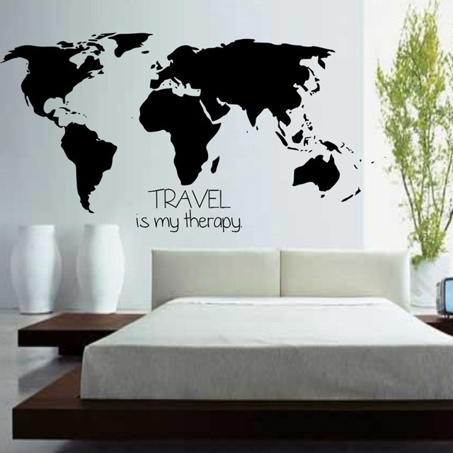 Wall Sticker World Map.Buckoo Wall Stickers Travel Is My Therapy Home Decor Wall Stickers