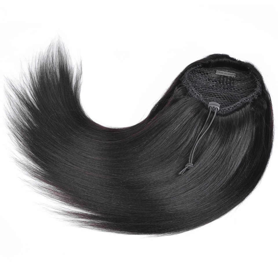 إيفون البرازيلي ياكي مستقيم ذيل حصان الشعر البشري وصلات شعر بمشابك عذراء الشعر الرباط ذيل حصان 1 قطعة اللون الطبيعي