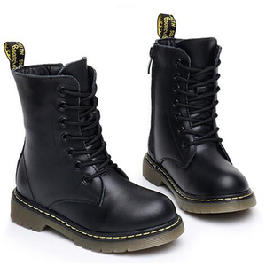 Image 2 - NEW 2020 Spring Genuine Leather Children Motorcycle boots British style Baby Girls shoes Military boots Boys Kids Snow Boots 04
