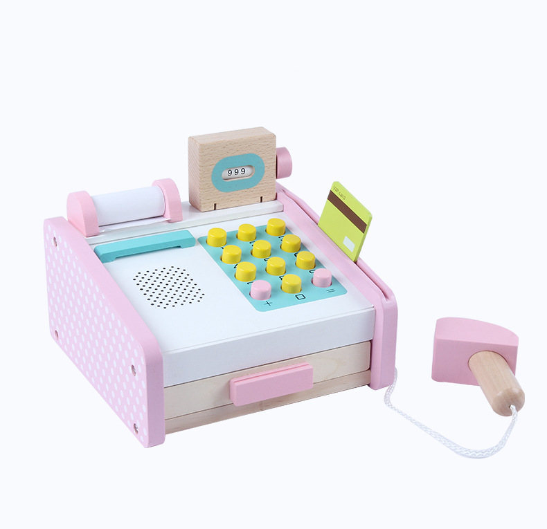 Pink Simulation Cash Register Wooden Toys For Kids Montessori Educational Toys Cashier Desk Baby Toys Birthday Gift 50pcs hot sale wooden intelligence stick education wooden toys building blocks montessori mathematical gift baby toys
