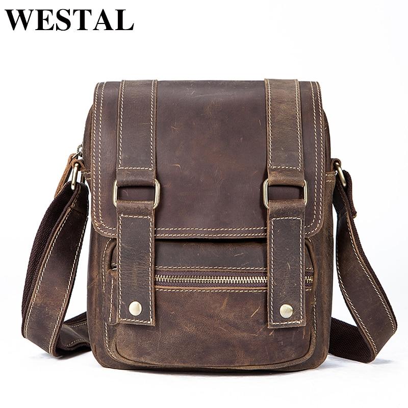 Фотография WESTAL Shoulder Bag Solid Flap Men Messenger Bags Crazy Horse Leather Single Crossbody Bags Mens Leather Shoulder Bag 3554