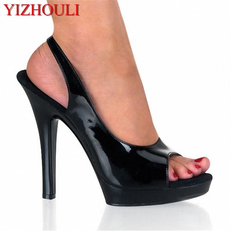bcf99e55 Sexy 13 cm Ultra altos zapatos de plataforma para las mujeres punta abierta  bombas 5 pulgadas pescador gladiador sandalias bombas envío gratis zapatos  de ...