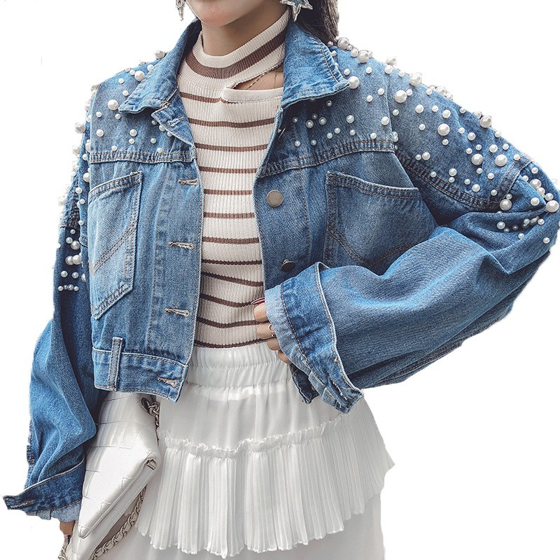 Good 2019 Spring Korean Style New Short Loose Denim Coat Female Harajuku Single Breasted Nailed Bead Jeans Jacket Women B529 Delaying Senility Jackets & Coats