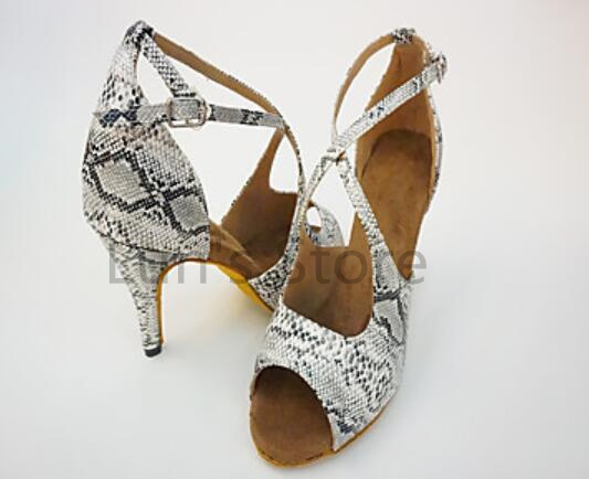 New Ladies Snakeskin Print Latin Ballroom Dance Shoes Salsa Dance Shoes Tango Bachata Dance Shoes ALL SIZE