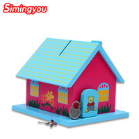 Simingyou Learning Education Lock A Small House To Save Money Cans Children S Wooden Toys C20