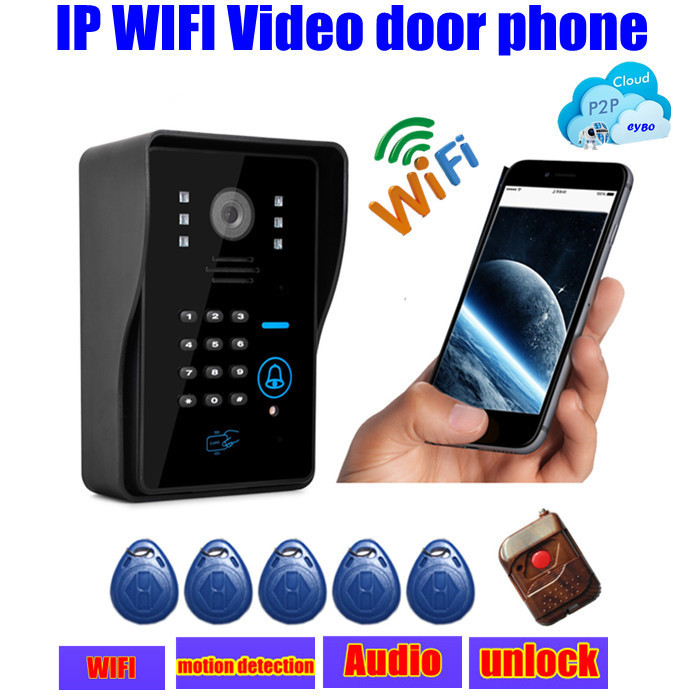 wireless touch waterproof IP wifi Video door phone intercom door bell ip cloud p2p android/ios APP unlock alarm motion detection 7inch 2 4ghz wireless intercom unlock video door phone with 3camera