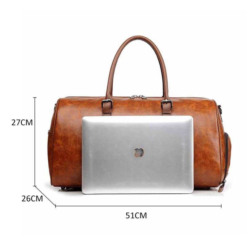 Men PU Leather Gym Fitness Bag Travel Handbag Women Weekend Luggage Shoulder Bags Waterproof Large Totes Tas Sac De Sport XA78D