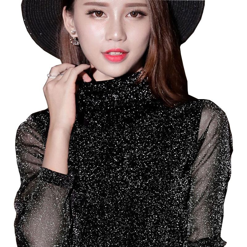 Spring Summer Women's Sexy See Through Mesh Blouse Long Sleeve Transparent Shining Elegant Shirt Fashion Women Tops DF2418