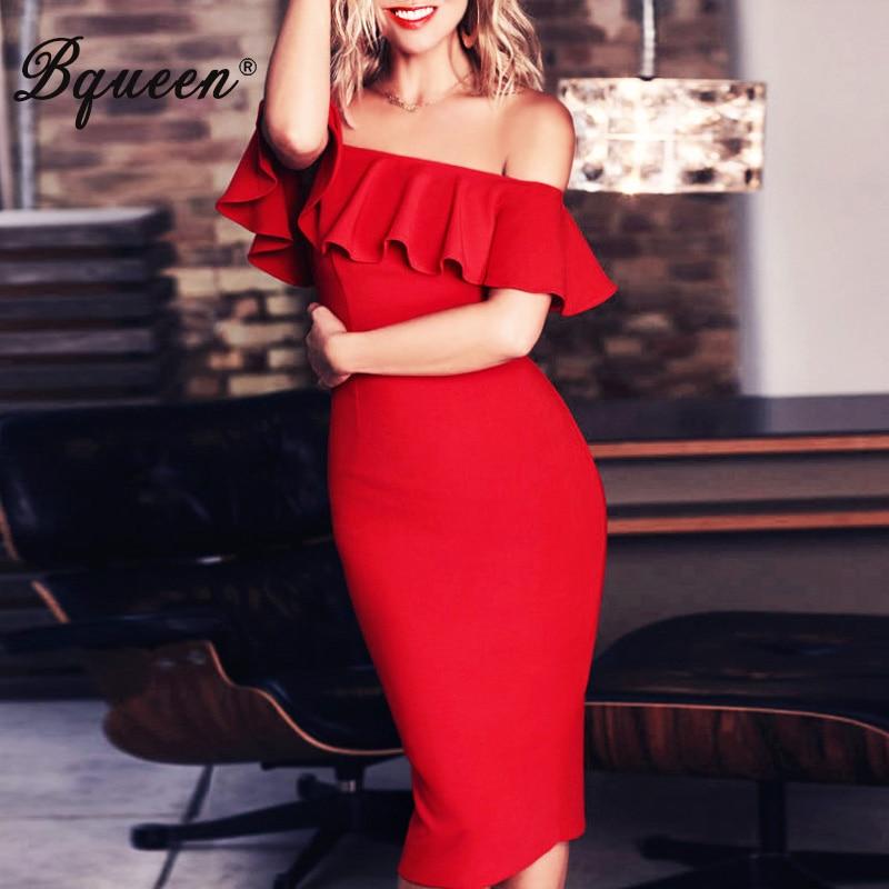 Robe Party Épaule Femmes Ruches 2017 Nouveau De Red Black Rouge Bqueen red Cou Moulante Celebrity Off Split D'été wine Slash Robes vnCAqF