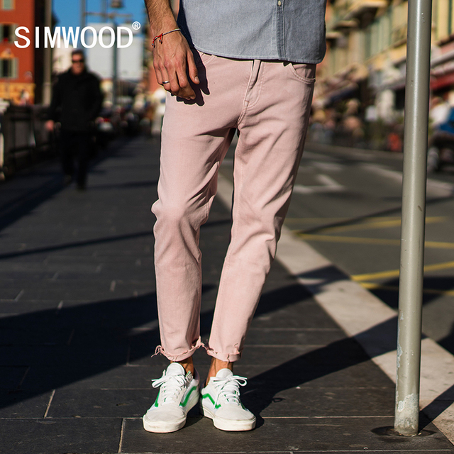 SIMWOOD 2018 Autumn Summer New Jeans Men Casual Slim Fit Ankle-Length Denim Pants Unfinished Hem Jeans Plus Size 180077