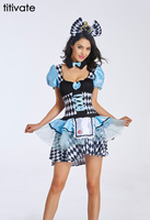 TITIVATE Hot Seller Alice in Wonderland Costume Blue Uniform Fancy Dress Sexy Halloween Cosplay Costumes S M L XL 2XL For Women
