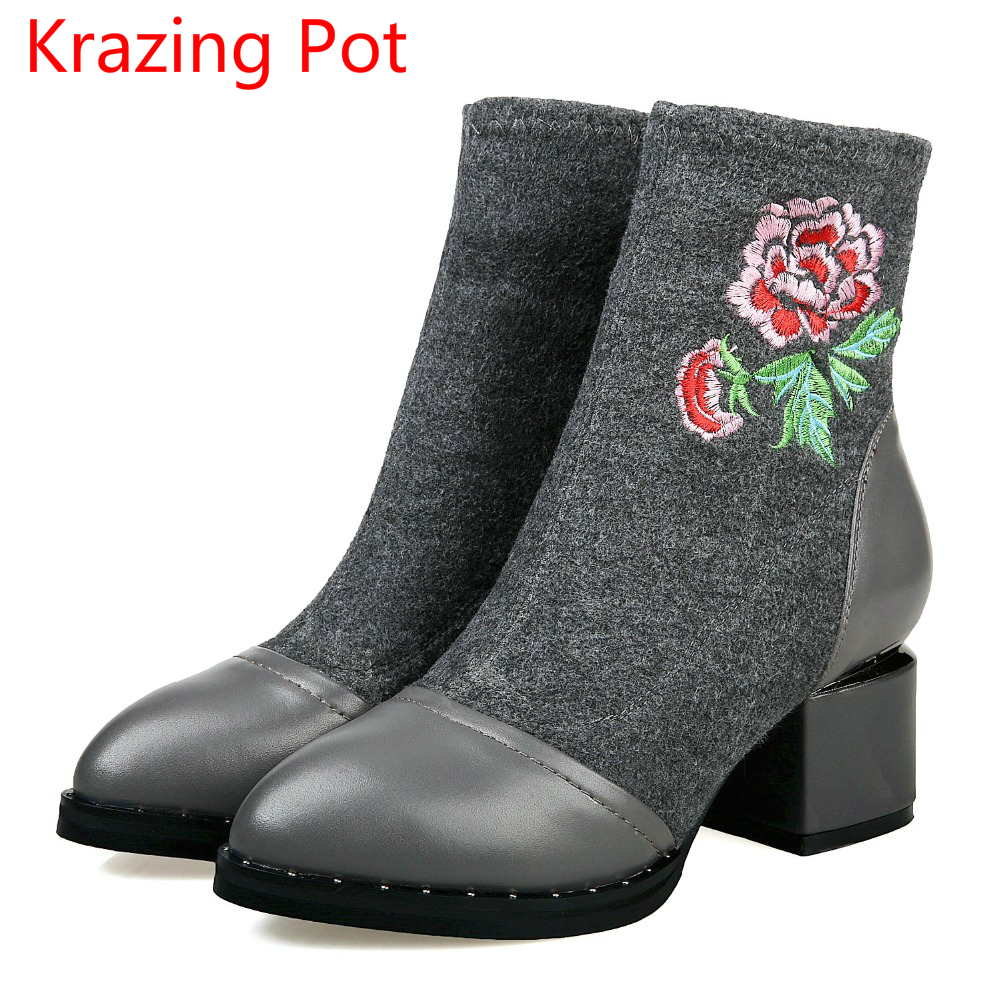 New Arrival Genuine Leather High Heel Pointed Toe Embroidery Stretch Fabric Flower Boots Women Superstar Party Ankle Boots L7f3 new arrival superstar genuine leather chelsea boots women round toe solid thick heel runway model nude zipper mid calf boots l63