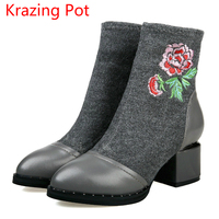 New Arrival Genuine Leather High Heel Pointed Toe Embroidery Stretch Fabric Flower Boots Women Superstar Party