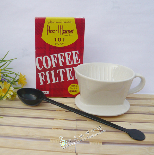 Ceramic classic coffee filter cup combination coffee powder filter cup 101 coffee filter paper measuring spoon