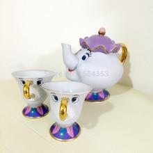 [1 TOPF + 2 TASSEN] Cartoon Schönheit Und Das Biest Mrs Potts Chip Kaffee Tee-Set Topf Tasse Becher Porzellan 18 Karat vergoldete keramik Geschenk
