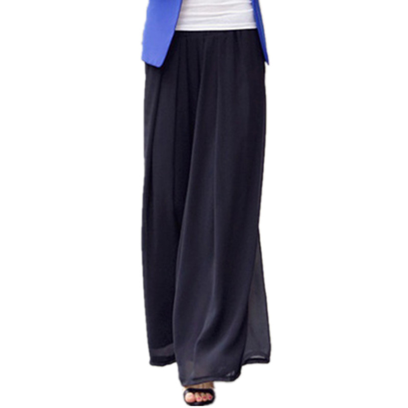 Summer Ladies Loose   Wide     Leg     Pants   Large Size 5Xl 6XL High Waist Skirt Chiffon Trousers Casual Palazzo Broad   Leg     Pants   Women
