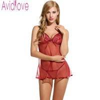 Avidlove Brand Sexy Babydolls Nightdress Women Sexy Dress Erotic Lingerie Sleepwear Strap V Neck Lace Nightwear