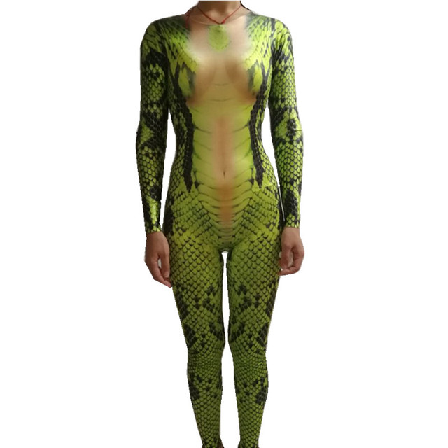 5d80ff7541 Personality Snake tattoo jumpsuit 3D Printing leotard elastic rompers  Nightclub singer dancer performance clothing Role costumes