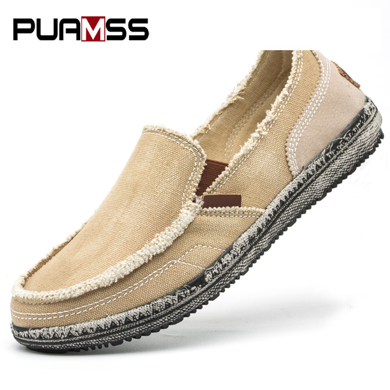 PUAMSS New Men Canvas Shoes Loafers Men Casual Shoes Brand Comfortable Spring Autumn Fashion Breathable Male Shoes brand 2018 new comfortable casual shoes loafers men shoes high quality driving shoes fashion trends spring and autumn bh a0054