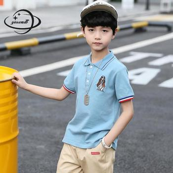 YAUAMDB kids polo shirts 2018 summer 3-15Y cotton boys girls tops tees clothing short sleeve embroidery dog children clothes Y30