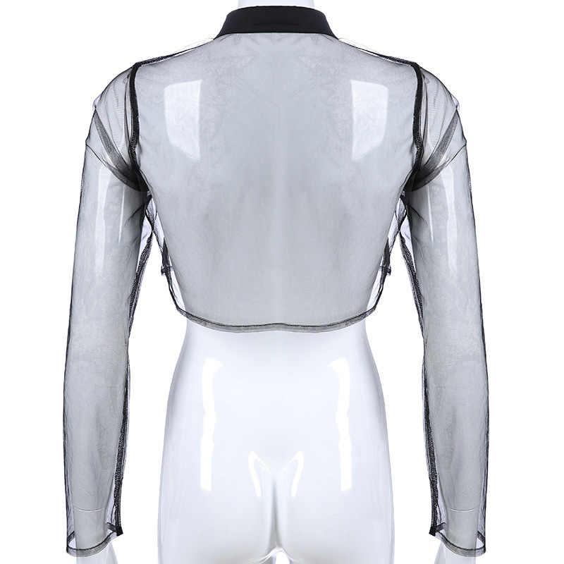 Сексуальная Прозрачная черная укороченная Футболка женская сетчатая уличная одежда с длинным рукавом Топы femme летние Harajuku прозрачный клубный укороченный топ
