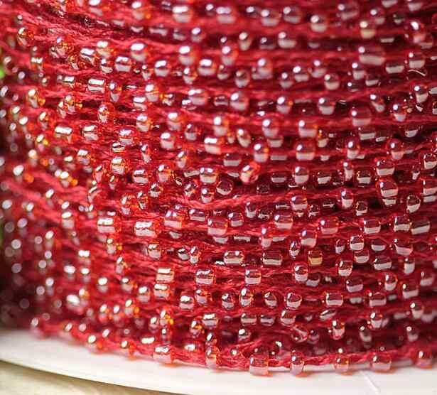 0.2 CENTIMETRI di Larghezza HOT rosso perline fiore Del Ricamo tessuto di pizzo nastro trim FAI DA TE cucito applique collare frangia di nozze Cavo guipure decor