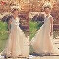 Vintage Beach Ruffles Flower Girls Dress For Weddings 2016 Sleeveless Chiffon Tutu Pearls Communion Birthday Dresses For Girls